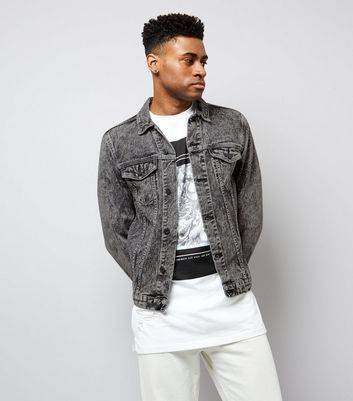 New Look Grey Acid Wash Denim Jacket (Sizes: XS, S, M, L, XL)