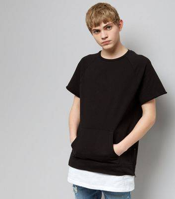 New Look Black Short Sleeve Side Zip Layered Sweater (Sizes: XXS, XS)