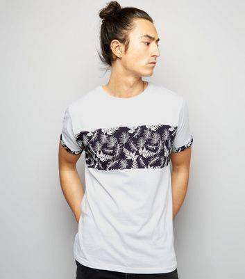 New Look White Leaf Panel T-Shirt (Sizes: L, XL)