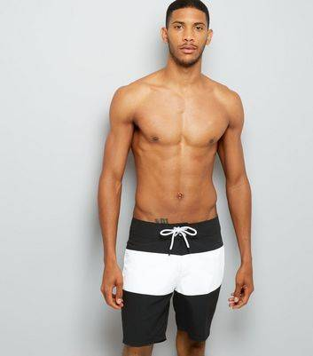 New Look Black Colour Block Board Shorts New Look (Sizes: XS, S)