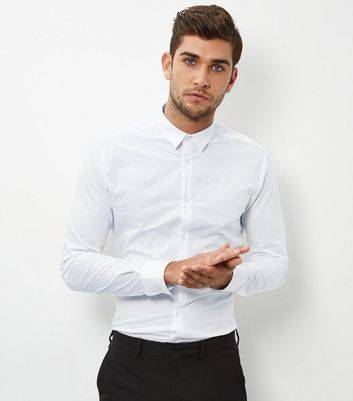 New Look White Stretch Super Slim Fit Long Sleeve Shirt New Look (Sizes: XXL)