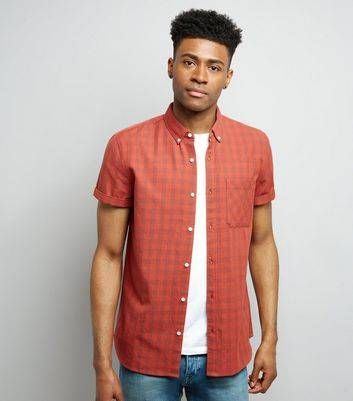 New Look Red Check Short Sleeve Shirt New Look (Sizes: XXS, XS)