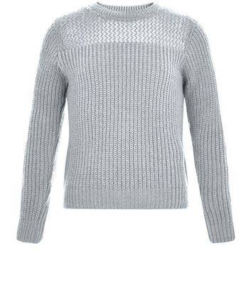 New Look Girls Grey Mesh Panel Ribbed Jumper (Sizes: 7-8yrs)