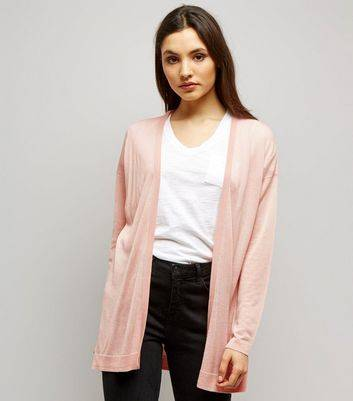 New Look Shell Pink Open Front Cardigan (Sizes: S)