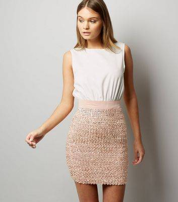 AX Paris New Look AX Paris Pink 2 in 1 Sequin Skater Dress (Sizes: 14)