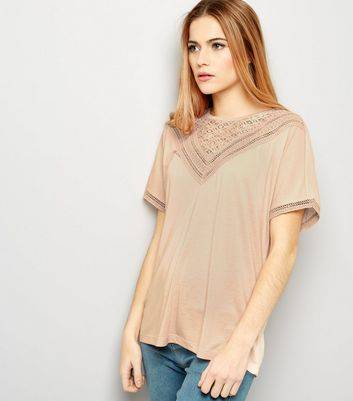 JDY New Look JDY Pink Lace Trim Short Sleeve Top (Sizes: XS, S, M, L, XL)
