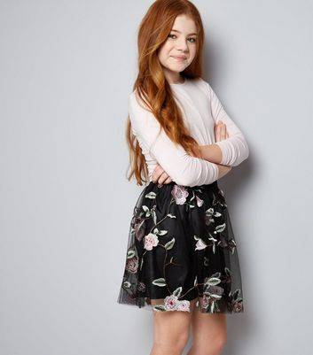 New Look Teens Black Floral Embroidered Mesh Skirt (Sizes: 9yrs)