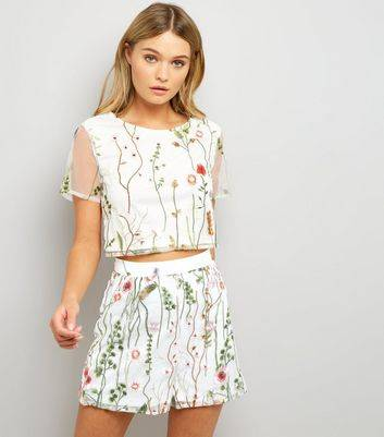 Parisian New Look Parisian White Floral Embroidered Mesh Shorts (Sizes: 8, 10, 12, 14)