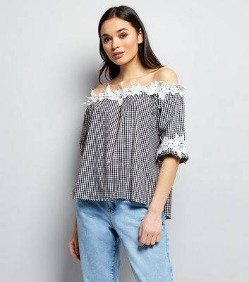 QED New Look QED Black Gingham Lace Trim Bardot Top (Sizes: S, M, L)
