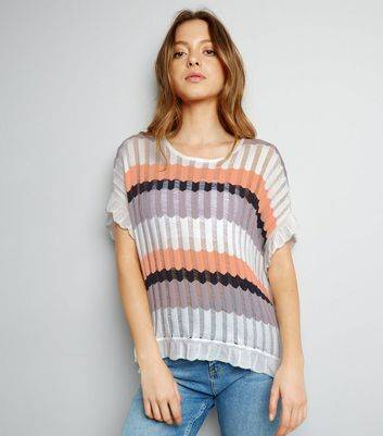 New Look Apricot Cream Stripe Ribbed Oversized Top (Sizes: S, M, L)