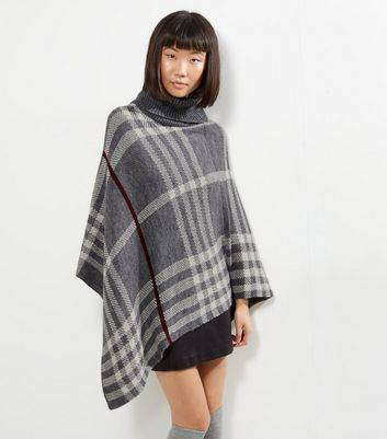 Mela Light Grey Check Knitted Poncho New Look (Sizes: One size)