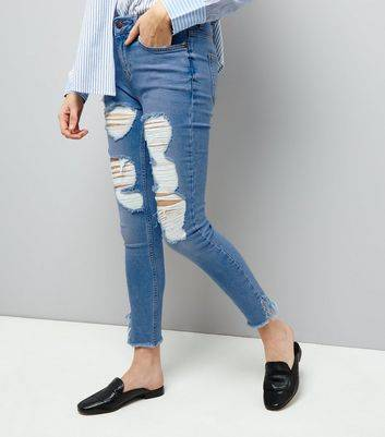 New Look Pale Blue Ripped Fray Hem Skinny Jenna Jeans New Look (Sizes: 4L30, 4L32)