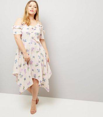 New Look Curves Cream Floral Frill Trim Hanky Hem Dress New Look (Sizes: UK 26)