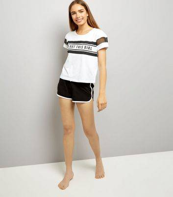 New Look Black You Got This Slogan Print Pyjama T-Shirt and Short Set New Look (Sizes: S, L, M)