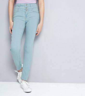 New Look Teens Pale Blue Bleached High Waist Skinny Jeans New Look (Sizes: 9 years)