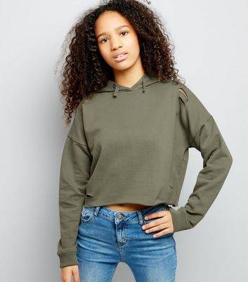 New Look Teens Khaki Ripped Cropped Hoodie (Sizes: 9yrs, 14-15yrs)