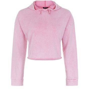 New Look Teens Pink Acid Wash Cropped Hoodie (Sizes: 9yrs, 12-13yrs, 14-15yrs)