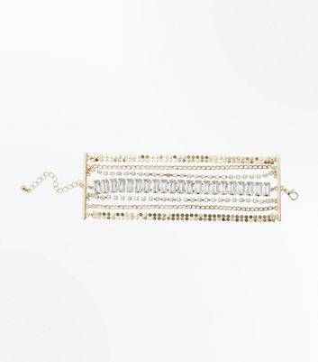 New Look Gold Crystal Wide Chain Bracelet New Look (Sizes: One size)