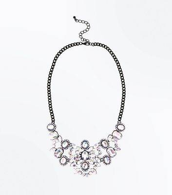 New Look Multi Colour Stone Embellished Necklace New Look (Sizes: One size)