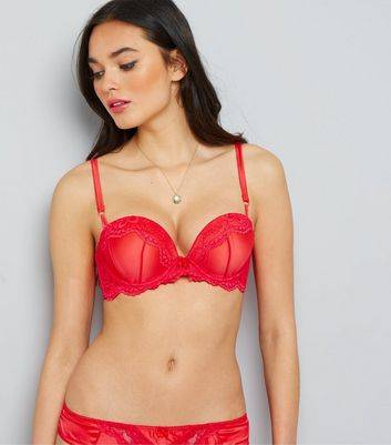 New Look Red Satin And Lace Boost Bra (Sizes: 32B, 32DD, 32D, 32C, 34A, 34B, 34D, 34DD, 36B, 36D, 36C, 34C)