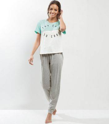 New Look Petite Mint Green Too Cute To Care Pyjama Set (Sizes: S, M, L)