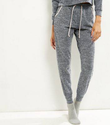 New Look Grey Stripe Sateen Trim Lounge Joggers (Sizes: L, M, S)