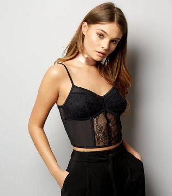 New Look Black Mesh And Lace Longline Bralet (Sizes: 12)