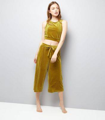 New Look Green Ribbed Velvet Vest And Culottes Pyjama Set (Sizes: S, M, L)