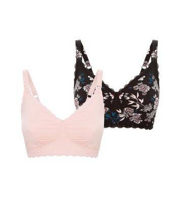 New Look Maternity 2 Pack Black and Pink Bras New Look (Sizes: 34C, 34B, 34DD, 36C, 36DD, 38DD, 40C, 38E, 40E, 40D, 34E, 34D, 36B, 38C, 38B, 36E, 38D, 40DD, 36D)