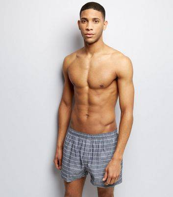 New Look 2 Pack Grey and White Stripe Boxers (Sizes: S, L, XS, M, XL)