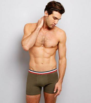 New Look 3 Pack Navy Khaki and Grey Contrast Stripe Boxer Briefs (Sizes: XS, S, M, L, XL)