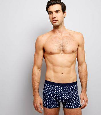 New Look 3 Pack Navy Multi Print Boxer Briefs (Sizes: S, M, L)