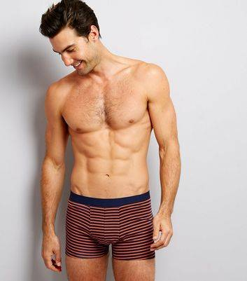 New Look 3 Pack Orange Stripe Grey and Navy Trunks (Sizes: L, XL, S, M)
