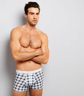 New Look 3 Pack Burgundy Check Print Trunks (Sizes: XS, M, L, S, XL)