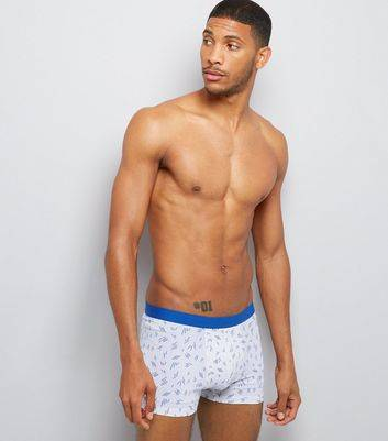New Look 3 Pack Blue Abstract Print Trunks (Sizes: S, XS, L, XL)