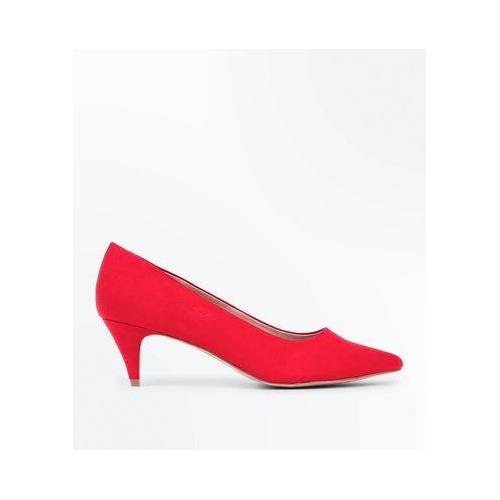 New Look Red Suedette Pointed Kitten Heel Court Shoes (Sizes: UK 4, UK 6, UK 5)