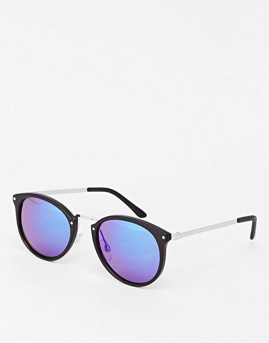 ASOS Round Sunglasses In Black With Blue Revo Lens - Black