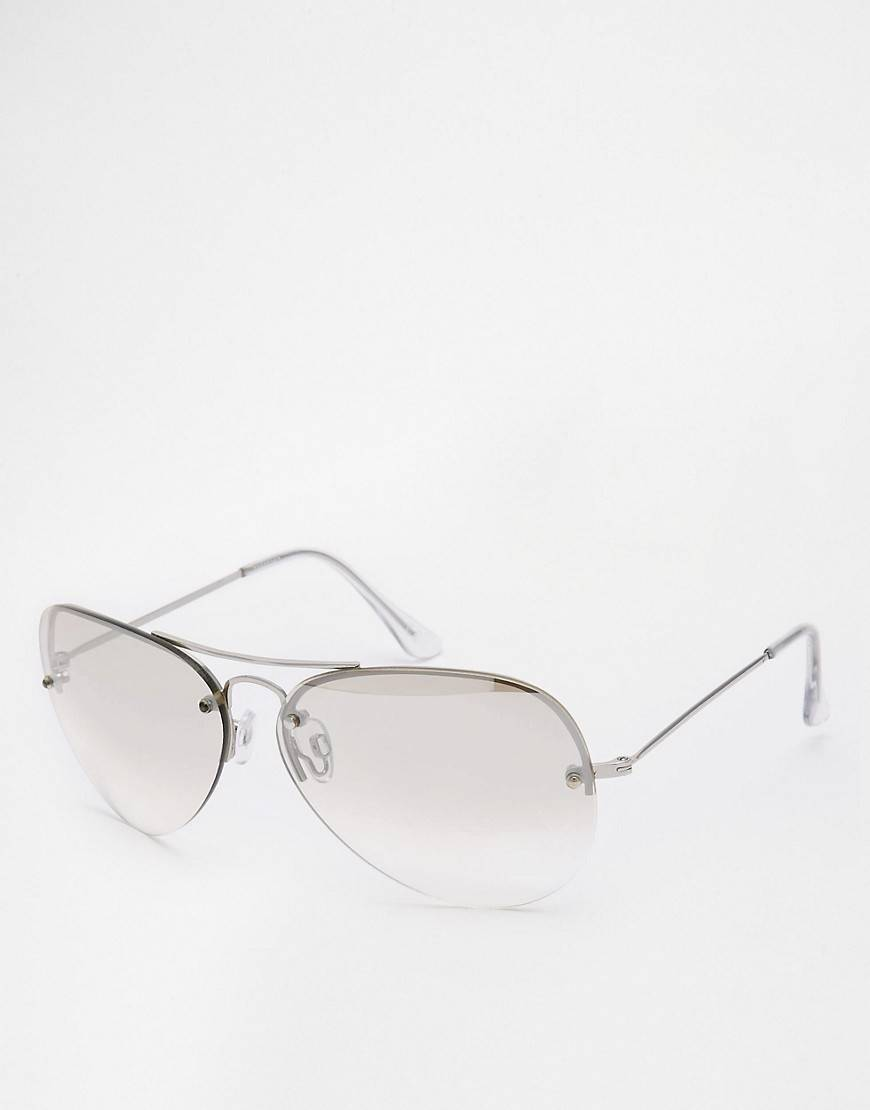 ASOS Aviator Sunglasses With Light Lens - Silver