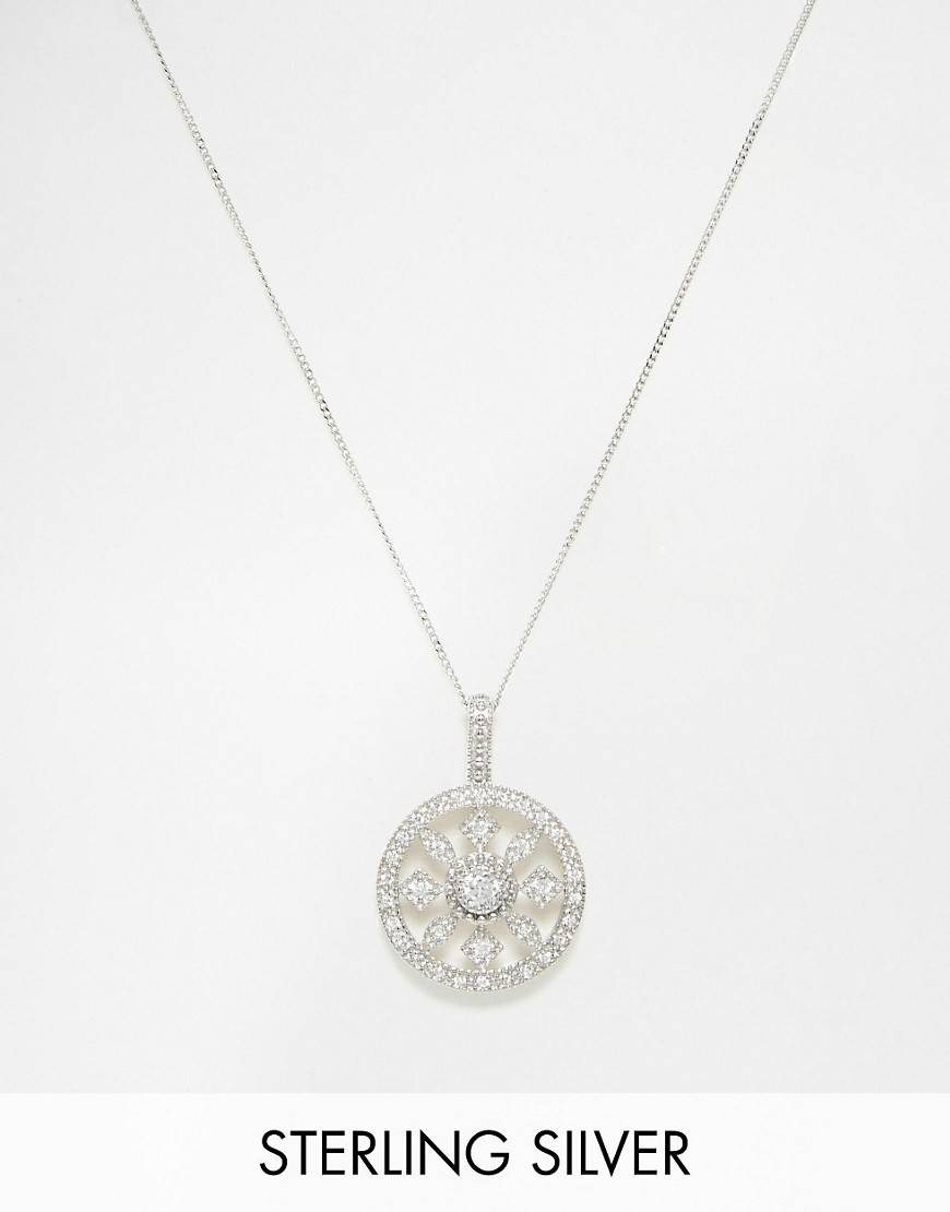 V Jewellery Royal Round Short Pendant Necklace - Silver
