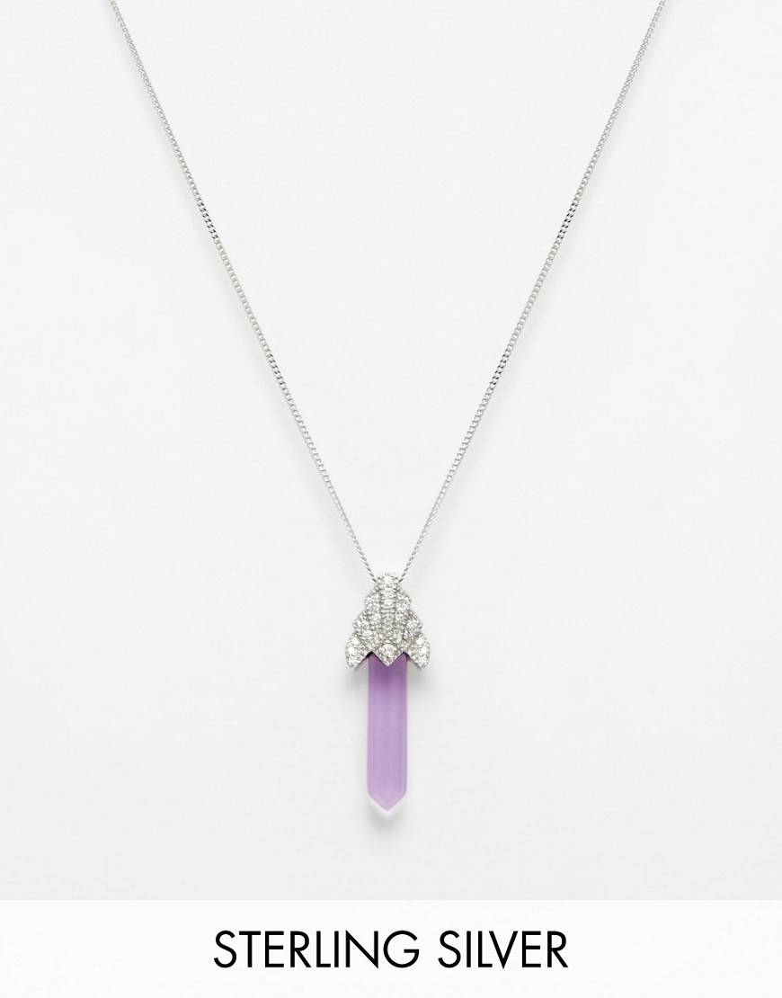 V Jewellery Deco Sword Amethyst Pendant Necklace - Purple