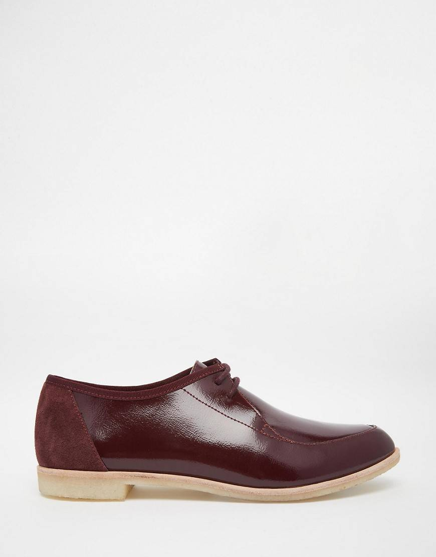 Clarks Originals Wine Patent Phenia Point Flat Shoes - Red