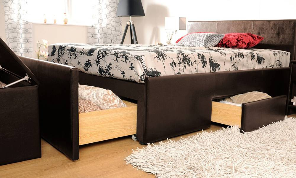 Cadaques Storage Double Bedframe Set and Mattress - Brown