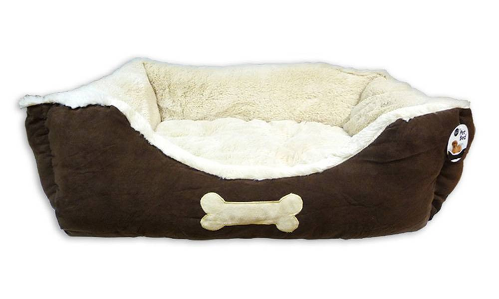 Faux Suede Pet Bed - Large Brown