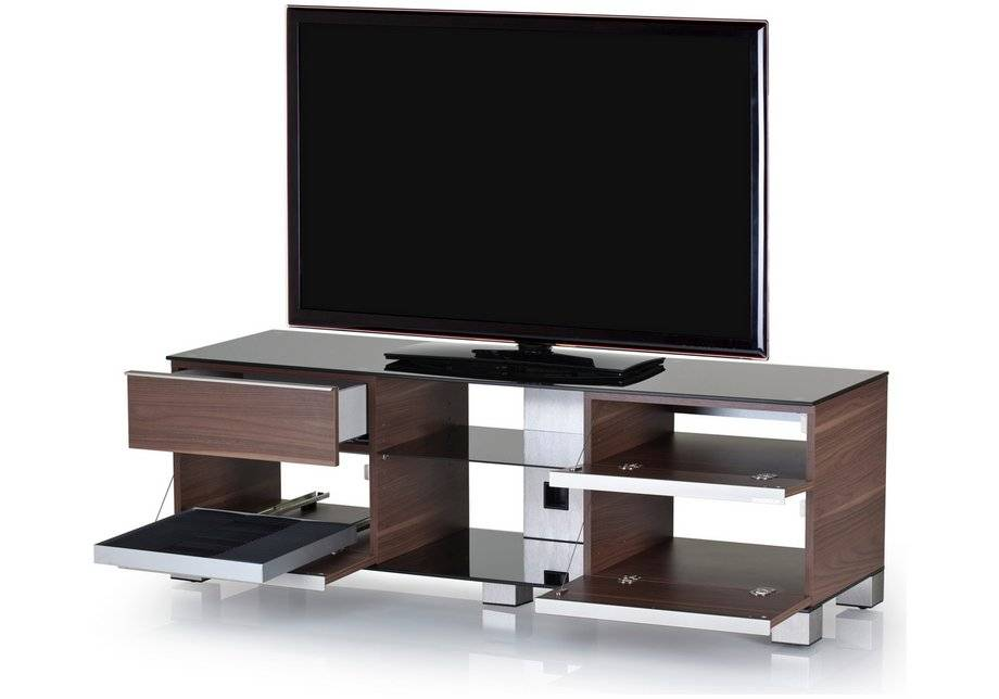 Sonorous TV and Media Cabinet- Walnut Veneer and Black Glass