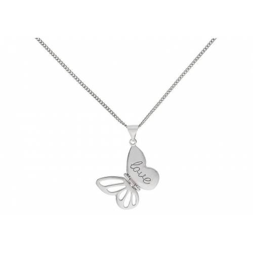 Moon & Back Sterling Silver Love Butterfly Pendant