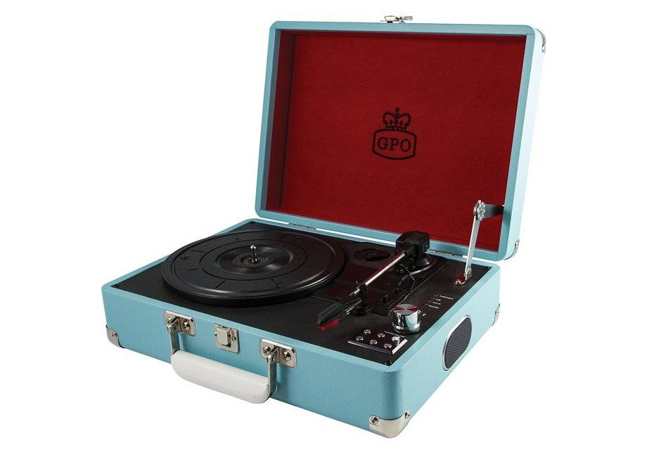 GPO Attache 3 Speed Portable USB Turntable - Sky Blue.