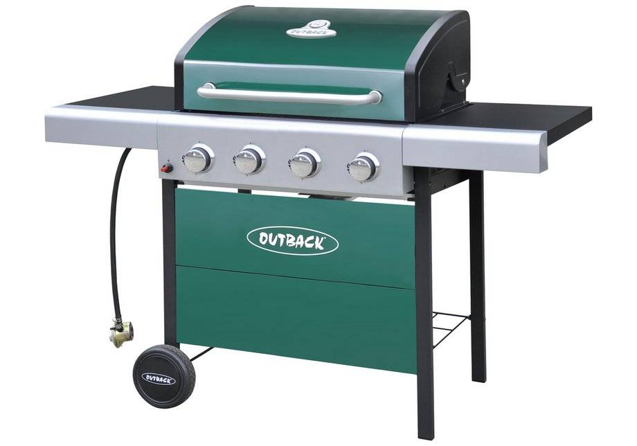 Outback 4 Burner Gas BBQ with Cover - Green