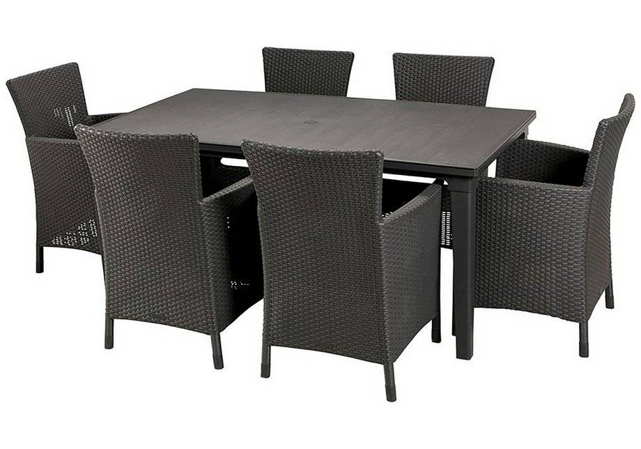 Argos Keter - Iowa Rattan Effect - 6 Str Dining Set - Graphite