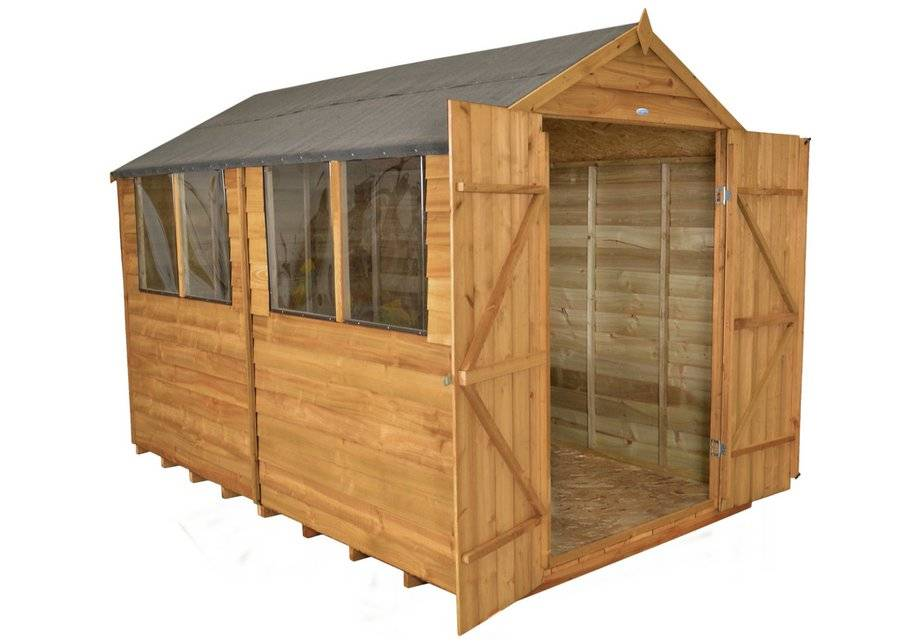 Forest Garden Forest Overlap Wooden Double Door Shed with Inst - 8 x 10ft