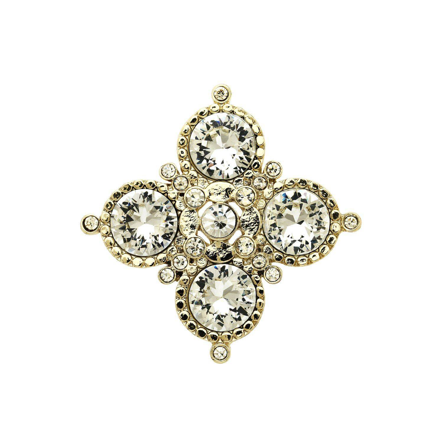 Monet Gold and crystal medal brooch